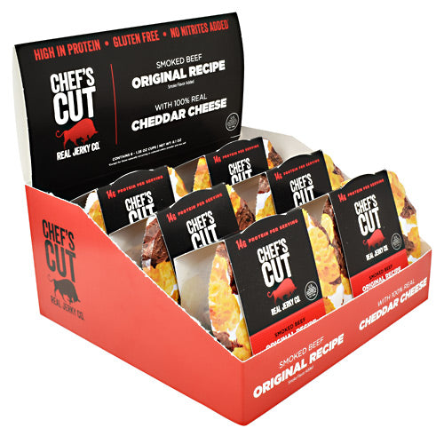 Chefs Cut Real Jerky Protein Snack Pack - Beef and Cheddar - 6 ea - 10854088007171