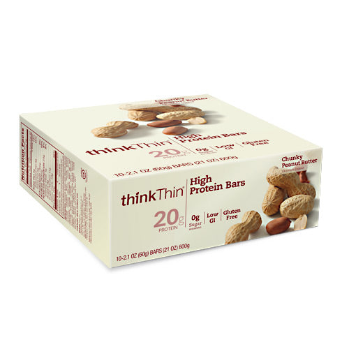 Think Products Think Thin Bar - Chunky Peanut Butter - 10 Bars - 753656701486