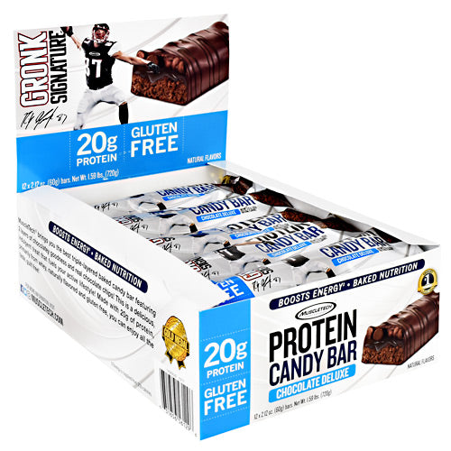 Muscletech Gronk Signature Protein Candy Bar - Chocolate Deluxe - 12 Bars - 631656561296