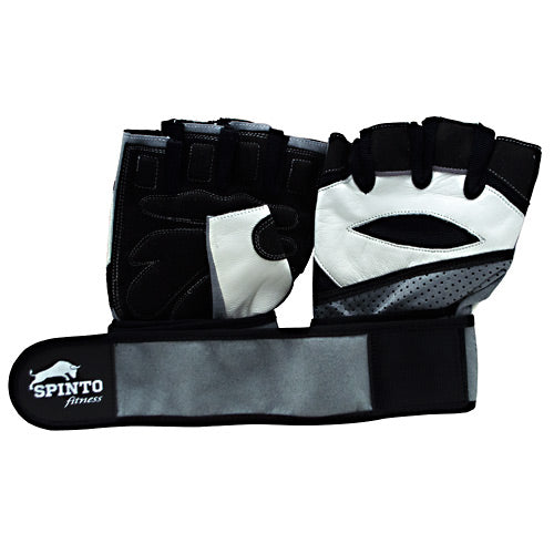 Spinto USA, LLC Mens Workout Glove w/ Wrist Wraps - White/Gray (MD) -   - 636655965946