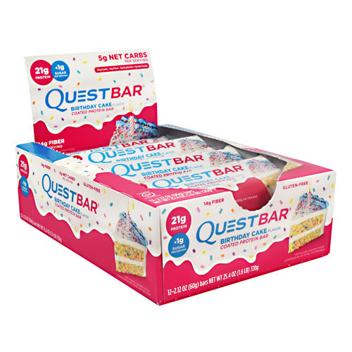 Quest Nutrition Quest Protein Bar - Birthday Cake - 12 Bars - 888849005963
