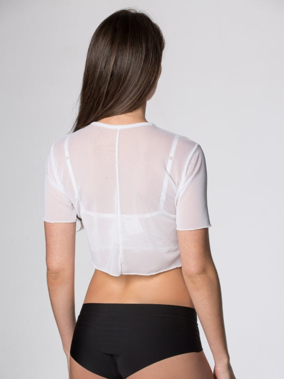 White Mesh Crop Top