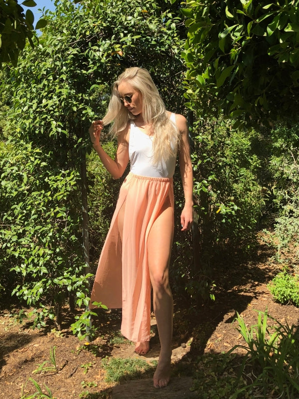 Peach Split Skirt