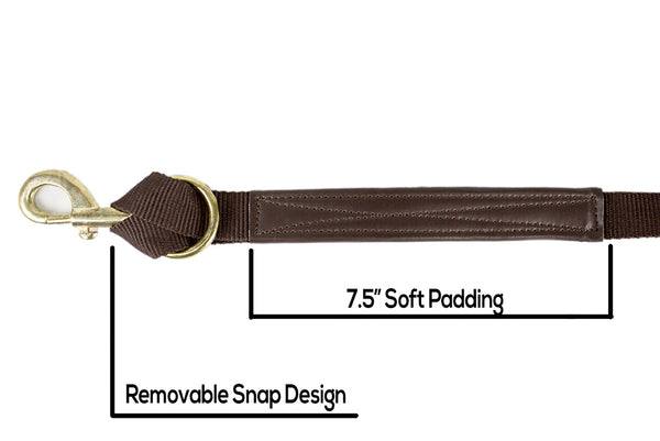 Flat Nylon Leather Reinforced Lunge Line Replaceable Brass Snap