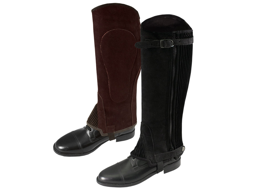 Derby Suede Leather Half Chaps Zipper & Elastic Over Stock