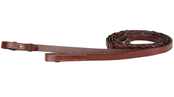 Paris Tack Flat Laced Reins with Hooks for English Bridles