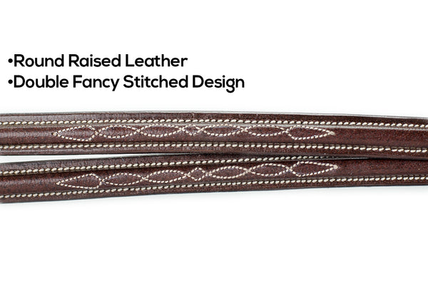 Round Raised Double Fancy Stitch Running Martingale Attachment