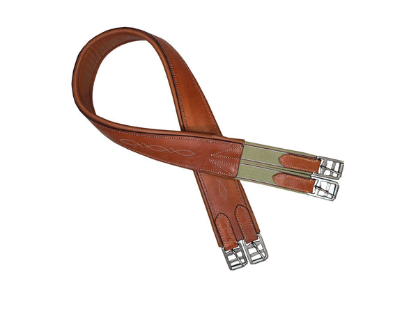 Paris Tack English Overlay Girth in London Tan Closeout
