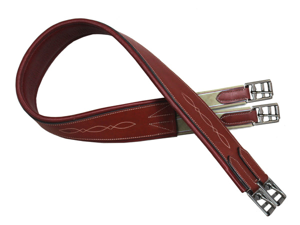 Paris Tack Fancy Stitched English Overlay Girth Leather