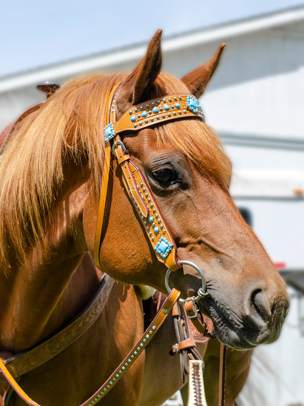Tahoe Tack Turquoise Spotted Show Western Leather Browband Headstall with Matching Split Reins