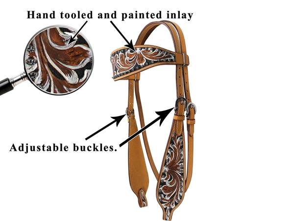 Tahoe Tack Hand Painted Floral Tooled Show Western Browband Headstall