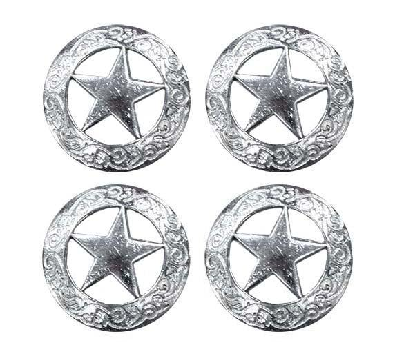 Flat Silver Star Conchos with Screw Back - Lot of 4