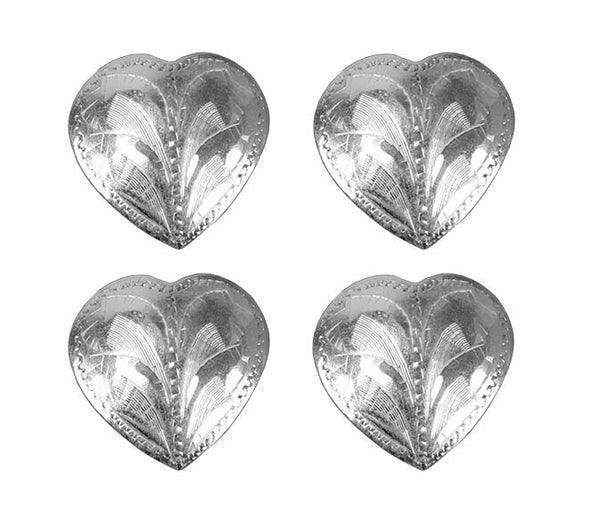 Brass Silver Heart Concho with Screw Back - Lot of 4