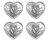 Brass Silver Heart Concho with Rope Edge - Lot of 4
