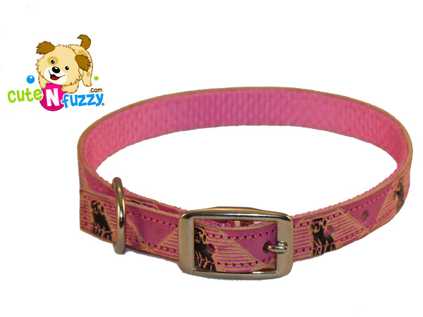 Hand Painted Leather Overlay Dog Collars by cuteNfuzzy®