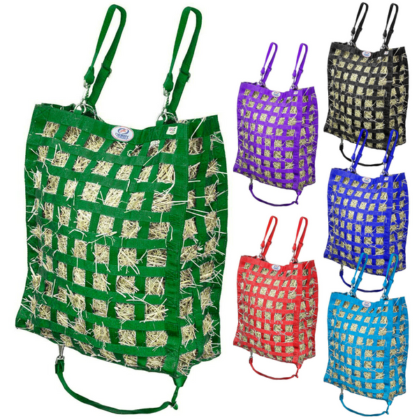 Hunter Green hay bag with five other colors of hay bag shown to the right.