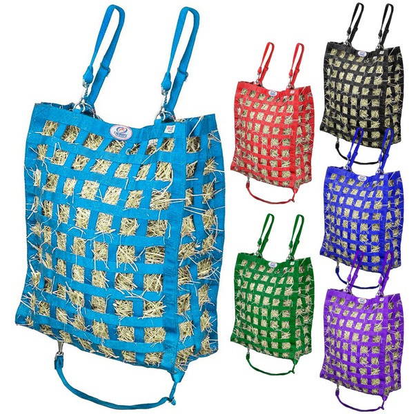 Petroleum blue hay bag with five other colors of hay bag shown to the right.