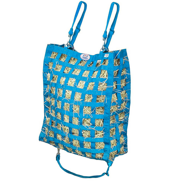 Petroleum blue four sided hay bag.