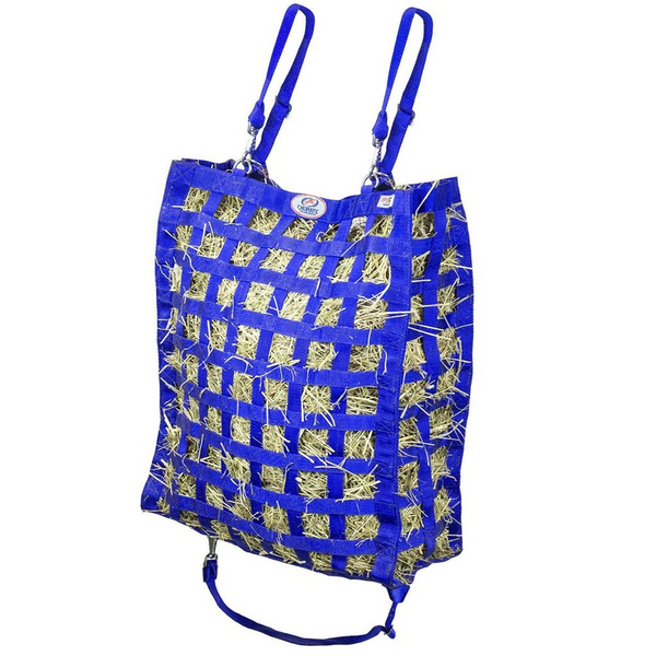 Royal blue four sided hay bag.