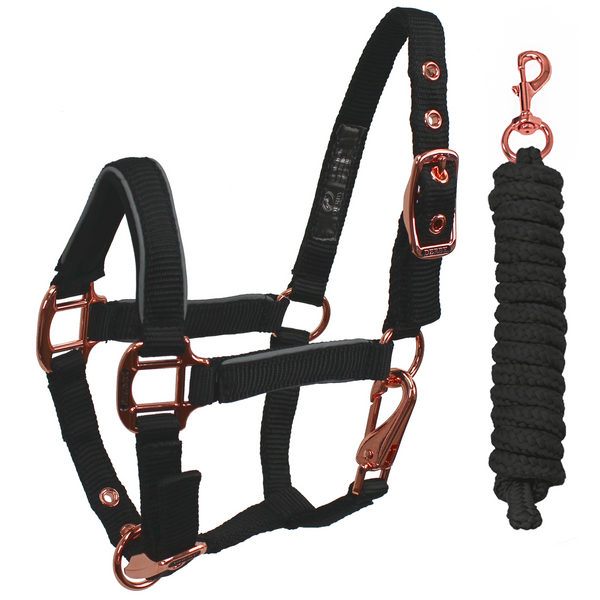 Derby Originals Desert Rose Collection Rose Gold Reflective Safety Stable Horse Halters with Matching Lead Ropes