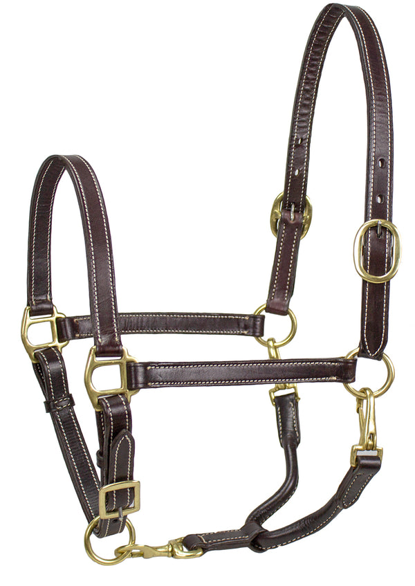 Derby Originals American Elegance Series - Convertible Double Stitch Leather Grooming Full Horse Halter - USA Leather