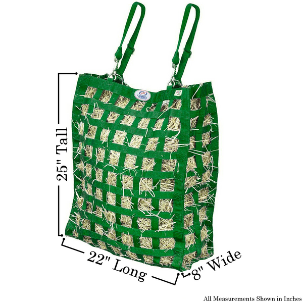 Size chart for hunter green four sided hay bag.