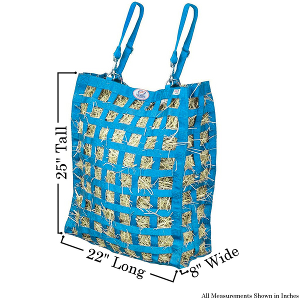 Size chart for petroleum blue four sided hay bag.