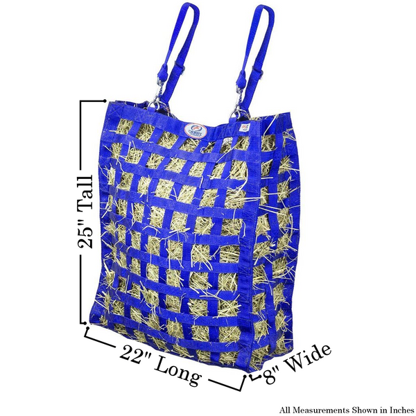 Size chart for royal blue four sided hay bag.