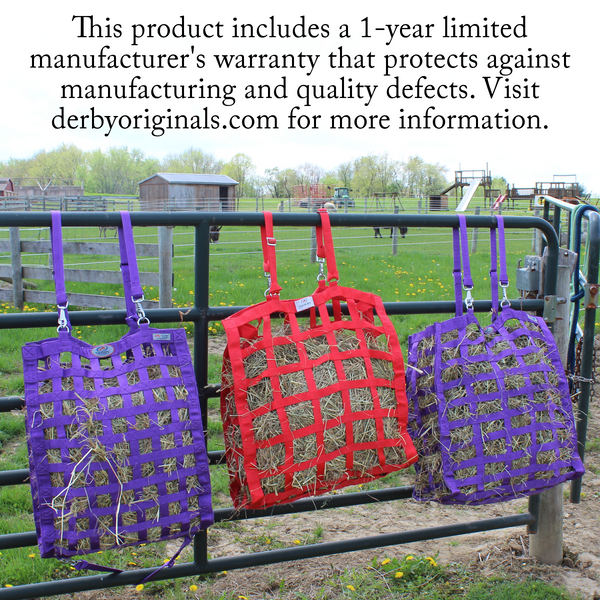 One year warranty information for four sided hay bag.