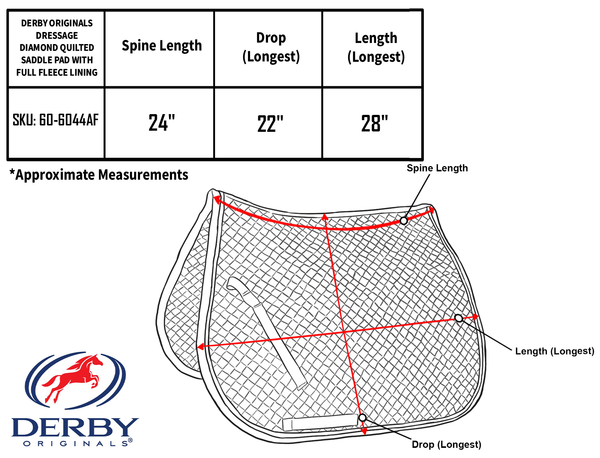 Derby Originals Dressage Diamond Quilted Saddle Pad With Full Fleece Lining