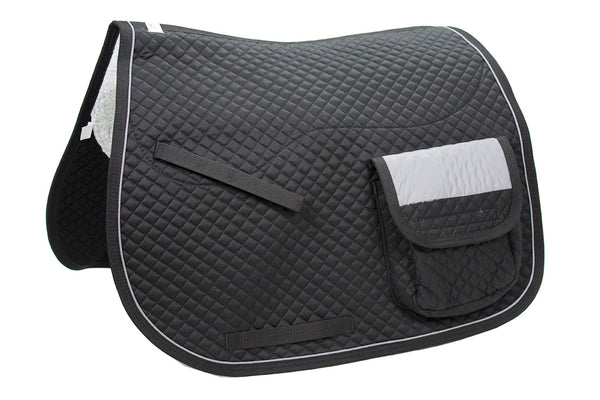 Derby Originals Safety Reflective English Dressage Saddle Pad with Pockets