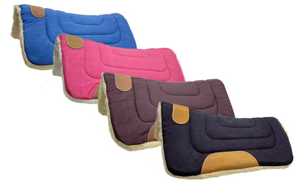 Pony Contour Cut Canvas Western Saddle Pad with Fleece Lining by Tahoe Tack - Size 23
