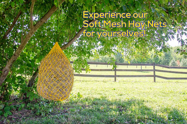 "Derby Originals 42"" Hot to Trot Slow Feed Soft Mesh Poly Rope Hanging Hay Net  with 2x2"" Holes"