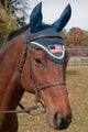 Paris Tack Premium Show Crochet Horse Fly Veil Bonnet with Patriotic Flag Brow and Soft Knit Ears - Provides Protection without Impairing Vision