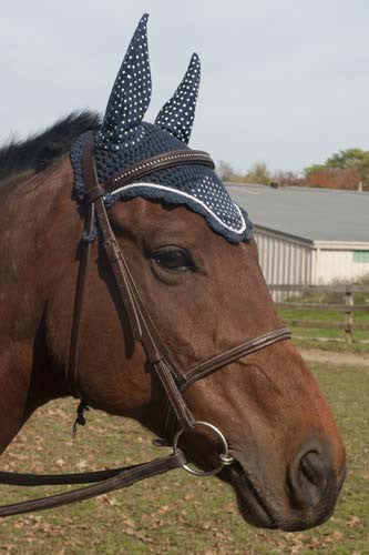 Paris Tack Polka Dot Premium Show Crochet Horse Fly Veil Bonnet with Soft Knit Ears- Provides Protection from Insects without Impairing Vision