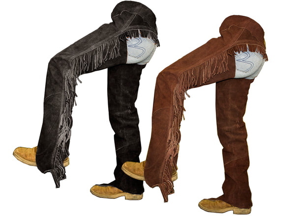 Tahoe Suede Leather Western Full Chaps with Fringes