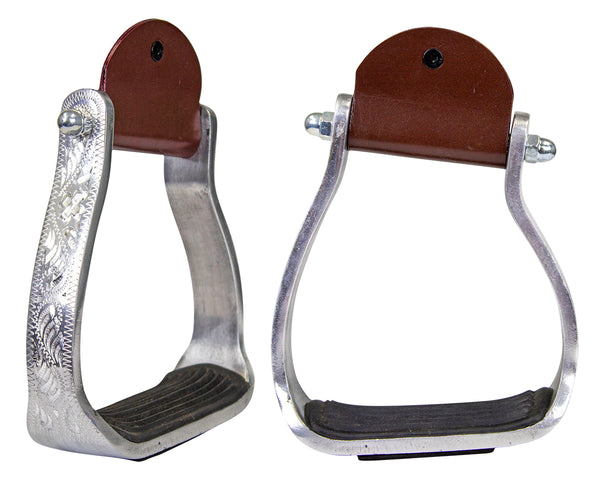 Tahoe Tack Angled Engraved Knee Relief Western Show Stirrups