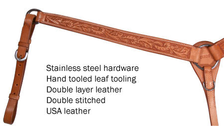 Tahoe Tack USA Leather Hand Tooled Leaf Tooled Western Breast Collar