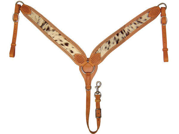 Tahoe Tack USA Leather Hair-On Cowhide Inlay Show Spotted Western Breast Collar