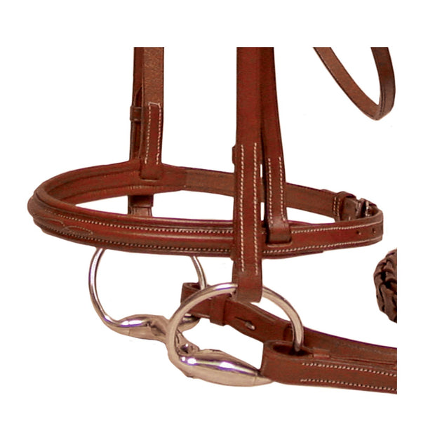 Paris Tack Padded Raised Leather English Schooling Bridle with Laced Reins and 1 Year Warranty