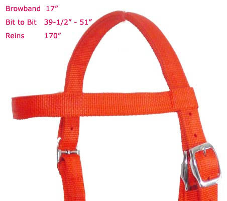 Nylon Draft Bridle with Reins by Derby Originals