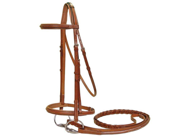 Paris Tack Padded Raised Fancy Stitched Leather English Schooling Bridle with Laced Reins