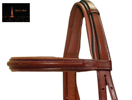Paris Tack Crown Padded Fancy Stitch English Bridles with Flash