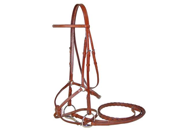 Paris Tack Raised Fancy Stitch Figure 8 Bridle w/ Laced Reins