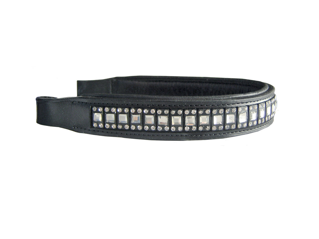 Paris Tack Padded Crystal Inlayed English Brow Band