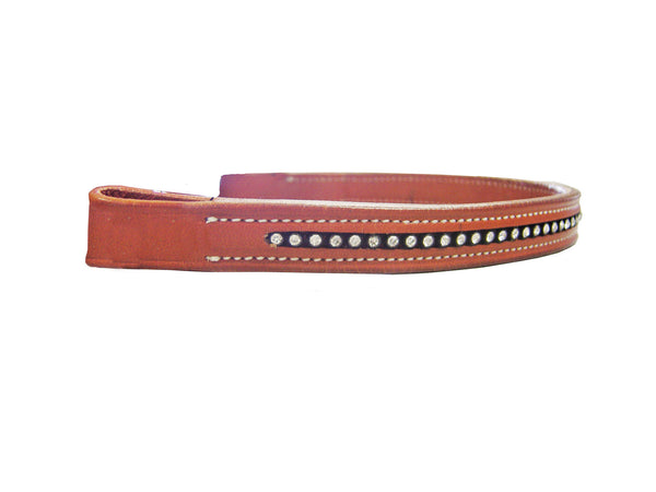 Brow Band with Clear Crystal for English Bridles USA Leather