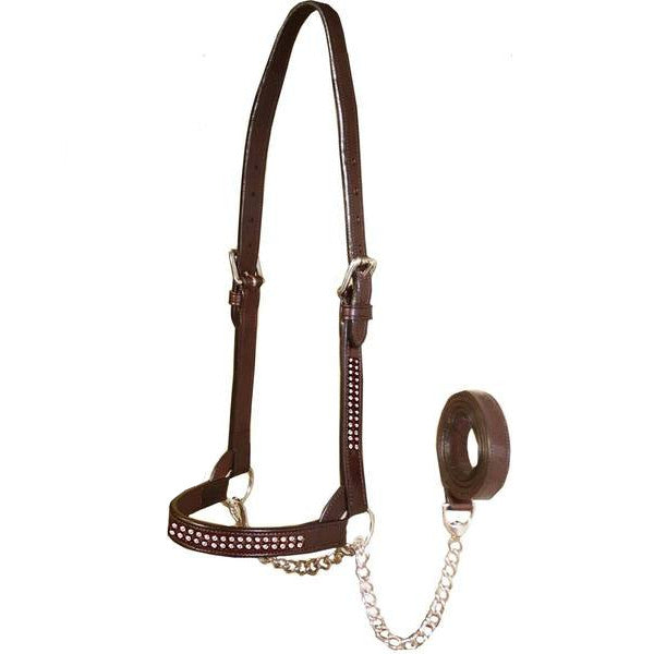 New & Improved Premium Crystal Bling Rhinestone Inlay Flat Leather Cattle Show Halter with Chain Lead   - One Year Limited Manufacturer's Warranty