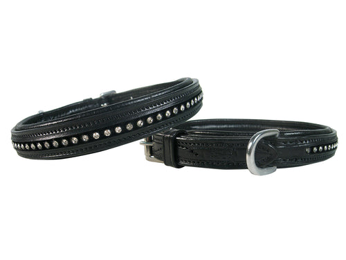 Crystal Padded Dog Collar USA Leather Derby Originals