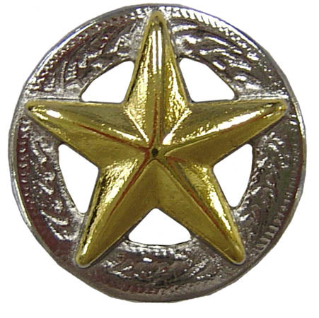 "American Gold Star 3D Silver Screw Back Concho  3/4"" Free Ship"