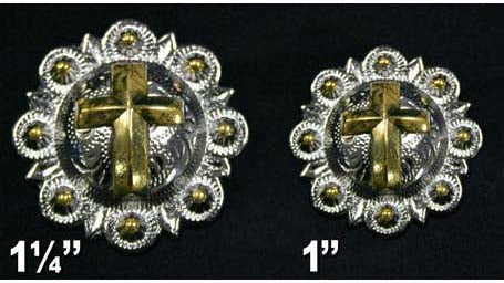 Shiny Silver and Gold Cross Conchos with Screw Back